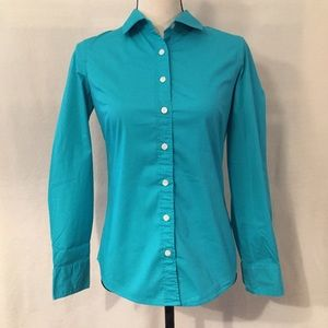 J. Crew teal stretch classic button down shirt
